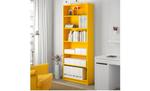 Bright yellow bookshelf