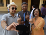 Industrialist Baba Kalyani votes with his family