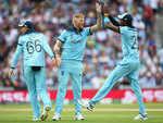Ben Stokes and Jofra Archer celebrate the wicket of Kagiso Rabada
