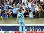 Ben Stokes reacts after taking a stunner in the deep