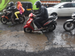 Airoli road covered with potholes