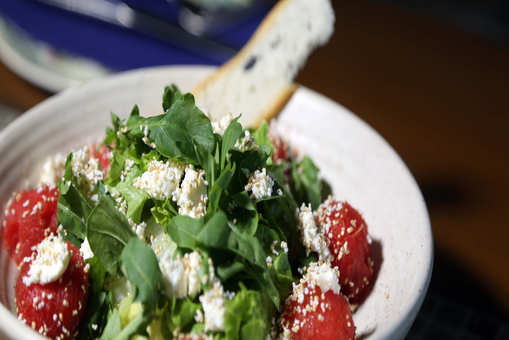 Watermelon, Feta and Amaranth Salad