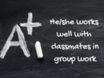 He/she works well with classmates in group work