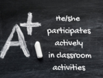 He/she participates actively in classroom activities