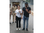Bobby Deol and Tanya Deol outside a polling booth