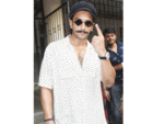 Ranveer Singh outside a polling station