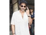 Ranveer Singh outside a polling station