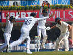 Saha, Rohit and Mayank celebrate Theunis de Bruyn wicket.
