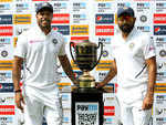Umesh and Shami pose with Freedom Trophy