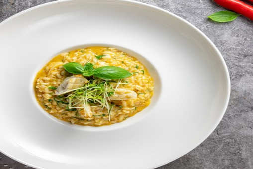 Squid and Rocket Leaves Risotto