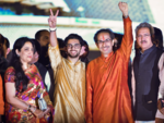Uddhav Thackeray with son Aaditya and wife Rashmi after taking oath
