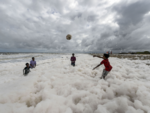 Children play in the foam