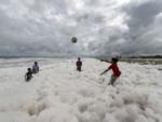 Children play in the foam