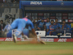 Rohit is almost runout