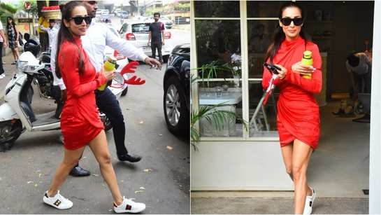 Malaika Arora is giving out major Christmas vibes as she steps out in red