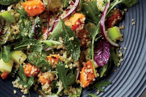Quinoa Salad with Arugula, Sweet Potatoes and Apples