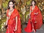 Malaika Arora stuns in a fusion red saree