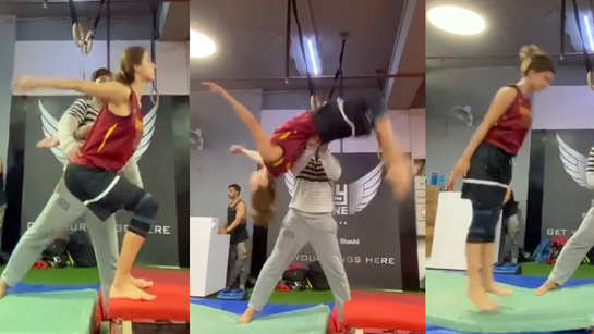 Disha Patani is back to her 'grind' as she performs a perfect back flip