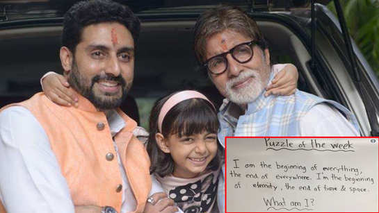 Amitabh Bachchan asks fans to solve a riddle, Abhishek Bachchan says 'ask your granddaughter' Aaradhya