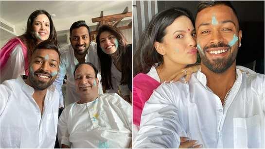 Natasa Stankovic and her cricketer fiancé Hardik Pandya celebrate Holi with family