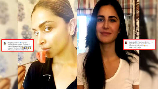 Deepika Padukone turns goofy, says 'Season 1:Episode 5 of Productivity in the time of COVID-19' stands cancelled as Katrina Kaif steals her idea