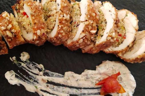 Quinoa Stuffed Fried Chicken With Tartar Sauce