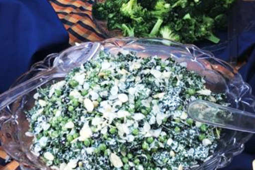 Kale and Pea Salad with Almond Dressing