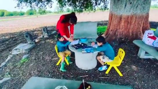 Genelia D'Souza, Riteish Deshmukh visit farm with kids