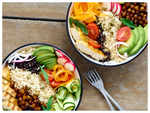Grilled Chicken and Rice Buddha Bowl with Spicy Chickpeas Recipe