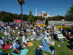 Many pray outside Hagia Sophia