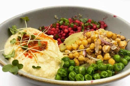 Sweet Potato with White Chickpeas with Hummus