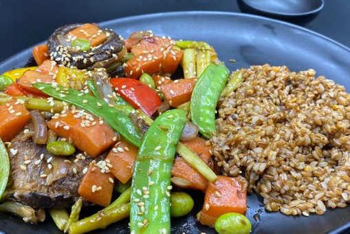 Shiitake Veggie Platter with Bamboo Rice