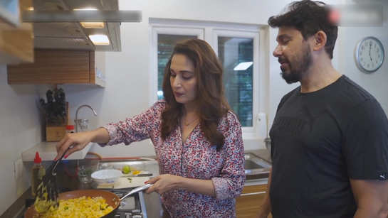 Couple goals! Madhuri Dixit cooks in the kitchen, husband Shriram Nene assists her