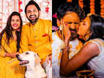 Siddharth Chandekar and Mitali Mayekar look radiant and happy twinning in yellow at their Haldi ceremony; a look at the inside pics