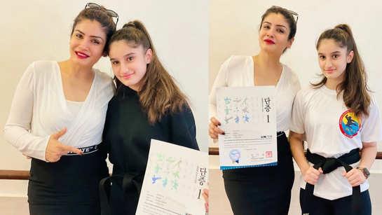 Raveena Tandon bursting with pride as daughter Rasha gets a black belt in Taekwondo