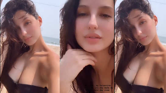 Nora Fatehi is a sight to behold in a bikini top as she enjoys her beach vacation