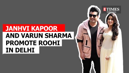 Janhvi Kapoor and Varun Sharma promote Roohi in Delhi