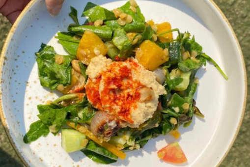 Grilled Pumpkin Salad with Hummus