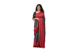 Black and red cotton saree