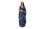 Indigo coloured cotton saree