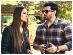 Prashanth and Simran in shoot mode on Andhagan set