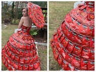 Woman creates dress and umbrella using discarded nachos packets