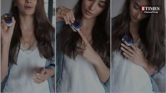 Pooja Hegde teaches how to use a Pulse Oximeter correctly