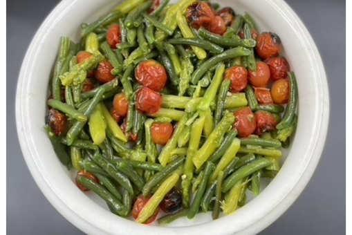 Asparagus green bean and baby tomato salad