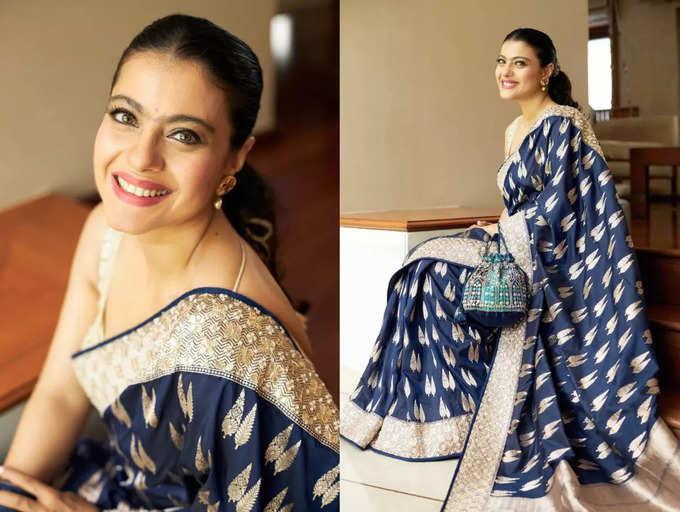 Guess the price of Kajol's blue Benarasi sari | The Times of India