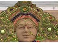 Artist makes sand art of Goddess Durga using 12 types of vegetables