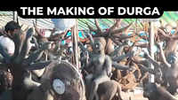 The making of Durga: Artists from Bengal engaged in creating clay idols near Beach Road in Visakhapatnam