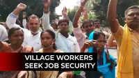 Bhubaneswar: Gaon Sathi workers stage protest seeking wage hike