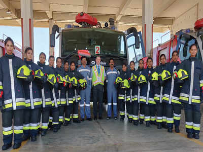 Kempegowda International Airport inducts 14 women fire fighters, only one in the country