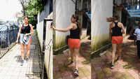 Sara Ali Khan looks adorable in orange shorts and black vest
